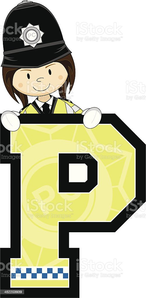 Cute British Policewoman Letter P royalty-free stock vector art
