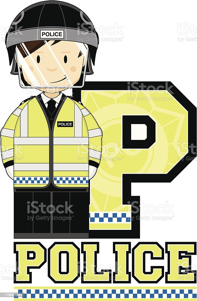 Cute British Riot Policeman Letter P royalty-free cute british riot policeman letter p stock vector art & more images of adult