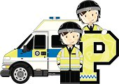 Cute British Riot Policemen Letter P Alphabet Learning Illustration.