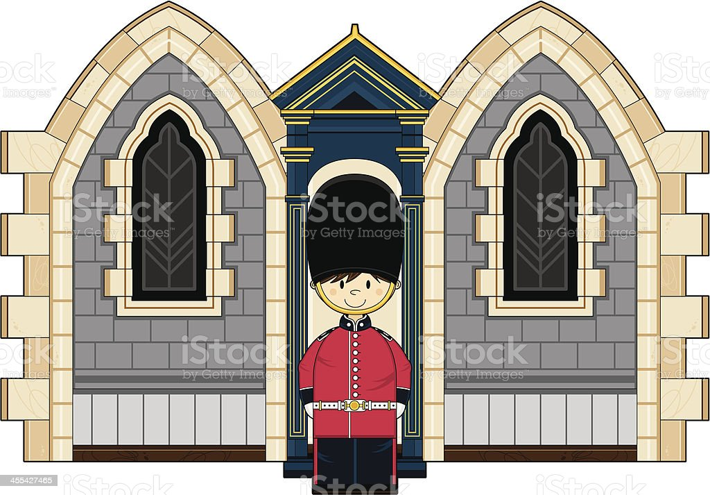 Cute British Royal Guard at the Palace royalty-free stock vector art