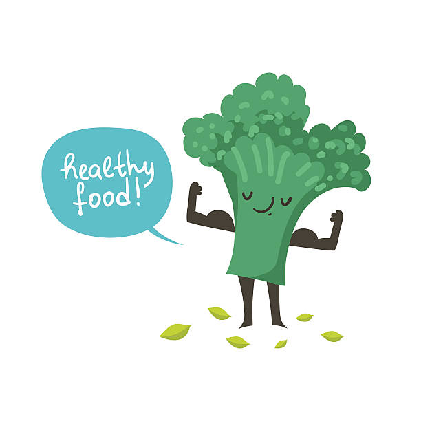 cute broccoli cartoon character posing and demonstrating its muscles - cartoon muscle arms stock illustrations, clip art, cartoons, & icons