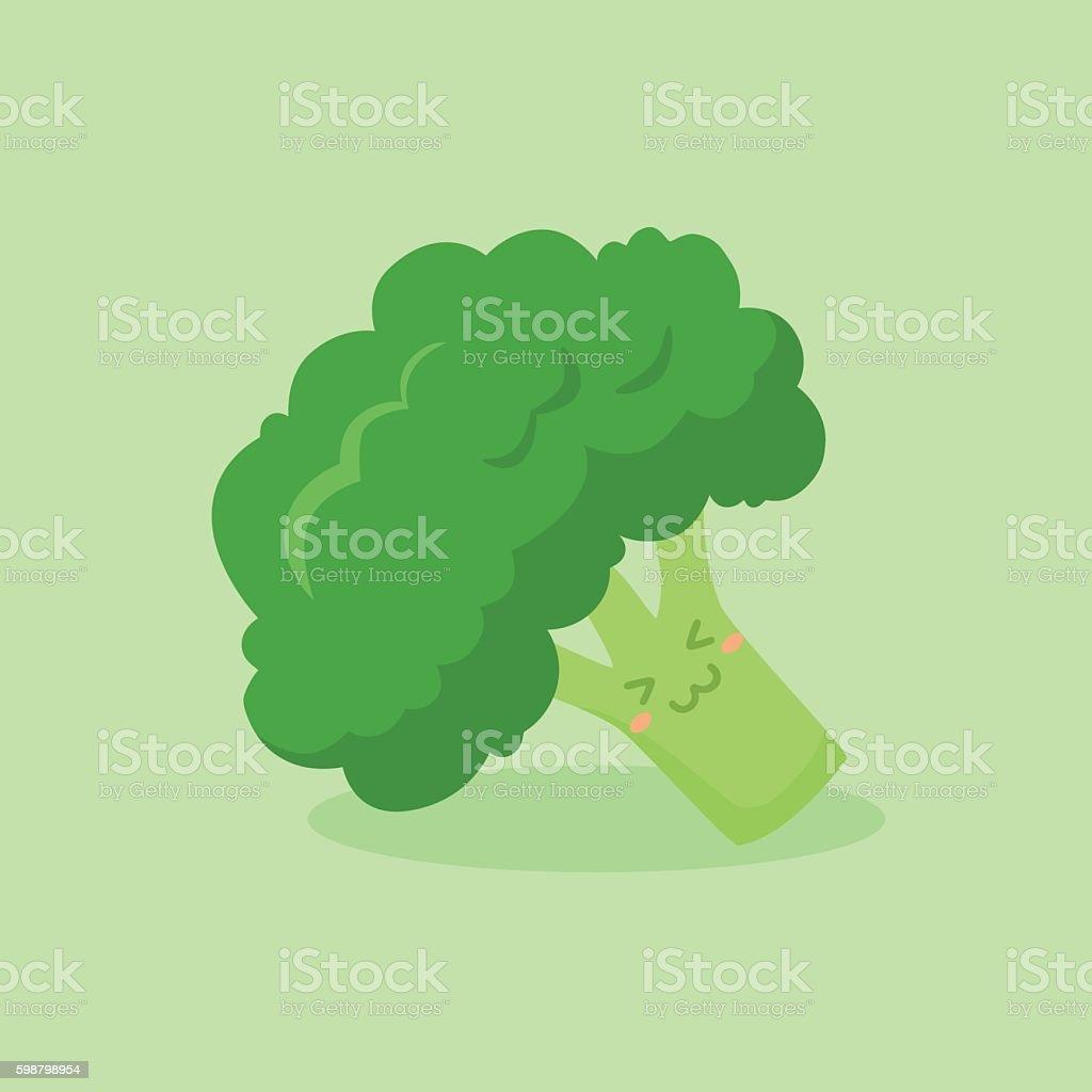 Cute Broccoli Vegetable Mascot Vector vector art illustration
