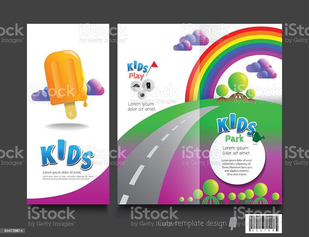 Cute Brochure Template Design Kids Concept Stock Vector Art More