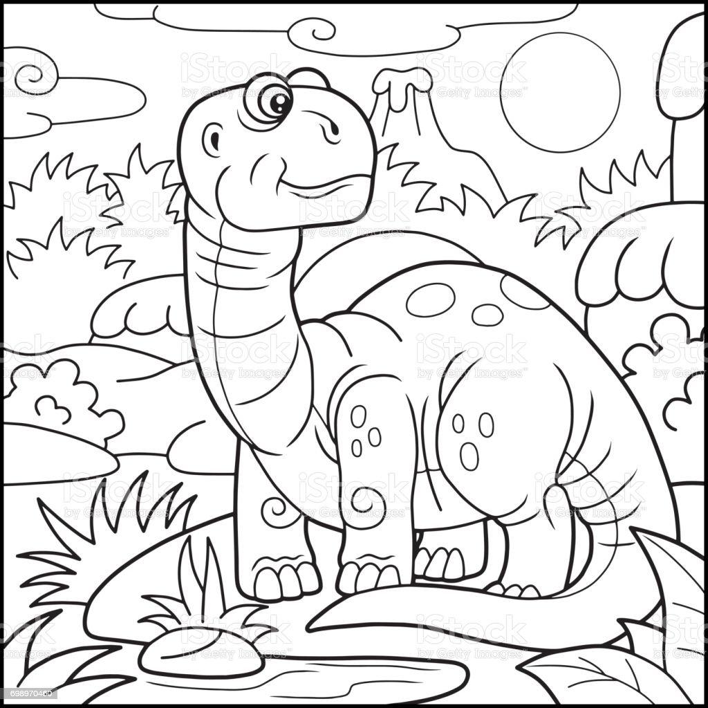 Sevimli Dinozor Boyama Kitabı Stok Vektör Sanatı Bitkinin Daha