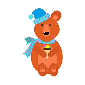 The cute brown bear in a blue scarf and hat sitting with ice cream. Funny bear life concept. Isolated vector illustration on white background in cartoon style.
