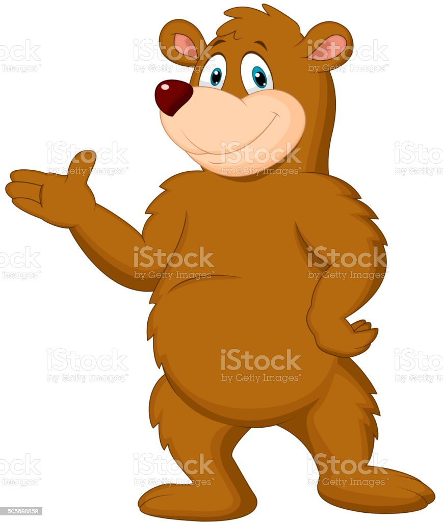 Cute brown bear presenting vector art illustration