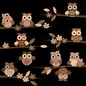 Cute brown cartoon owls in the night