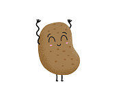 Cute brown cartoon potato character laughing and waving hands on a white background. Food and vegetable concept. Happy smiling funny potato. Vector flat cartoon character illustration