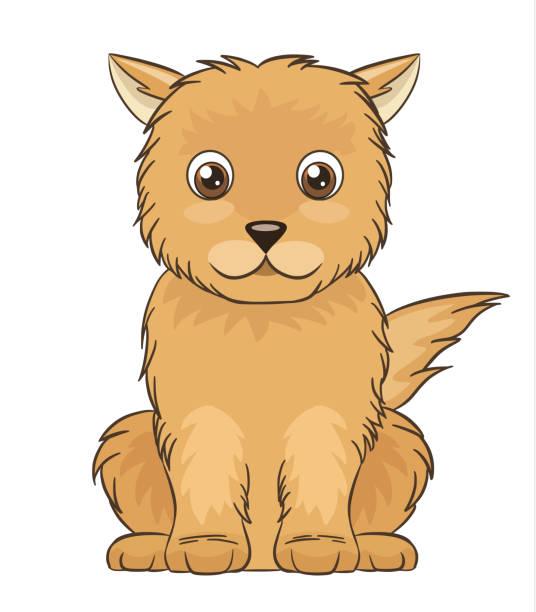 귀여운 브라운 경견 - 강아지 실루엣 stock illustrations