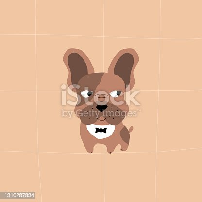 istock Cute brown french bulldog with bow tie. Funny dogs vector illustration. 1310287834