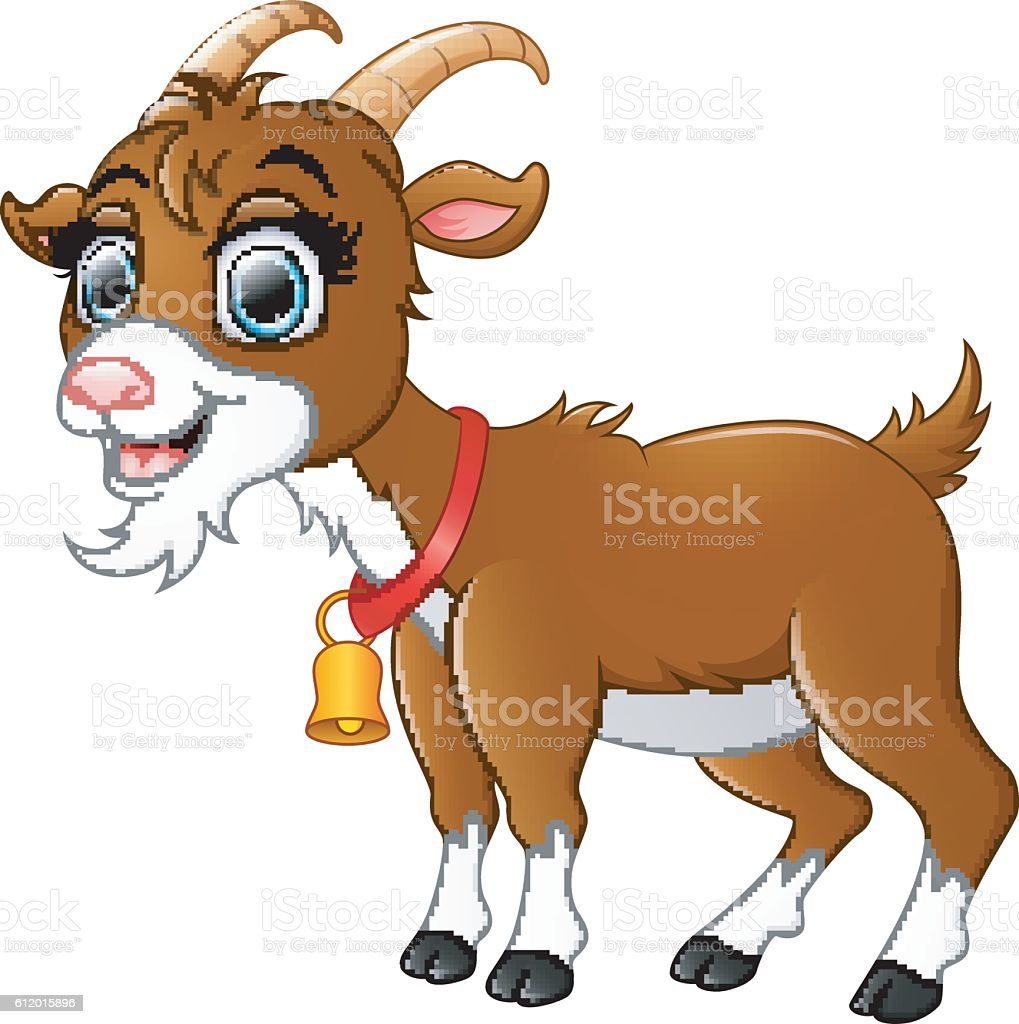 royalty free dairy goat with a bell clip art vector images rh istockphoto com goats clip art pictures goat clip art black and white