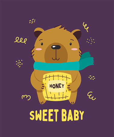 Cute brown little bear smiling. Text Sweet baby. Animal kingdom set. Super-kawaii and adorable animals. Cartoon character and lettering. Flat illustration for kid's poster, t-shirt and other art.