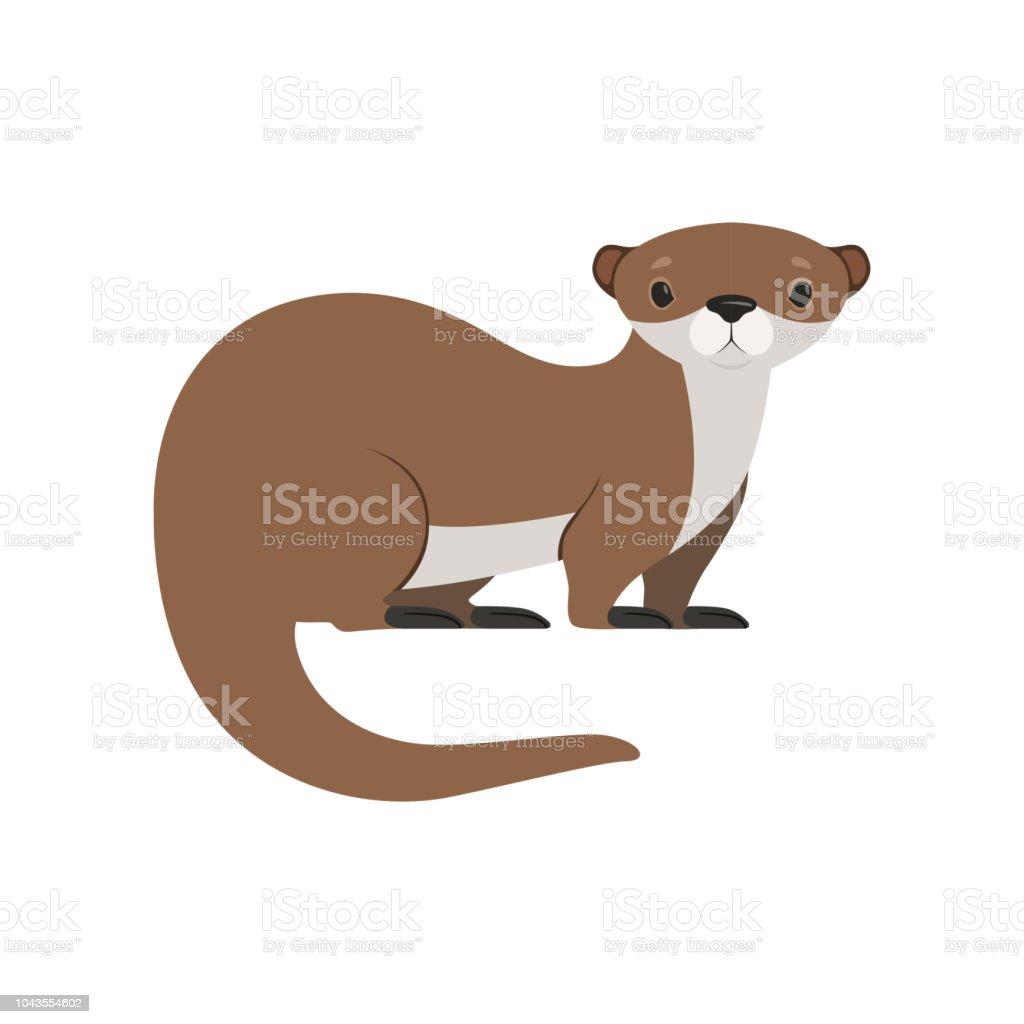 Niedliche braune Otter lustige Tier Charakter Vektor Illustration auf weißem Hintergrund – Vektorgrafik