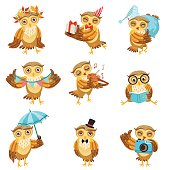 Cute Brown Owl Everyday Activities Icon Set. Stylized Bird Character In Different Situations Creative Design Bright Vector Illustrations.
