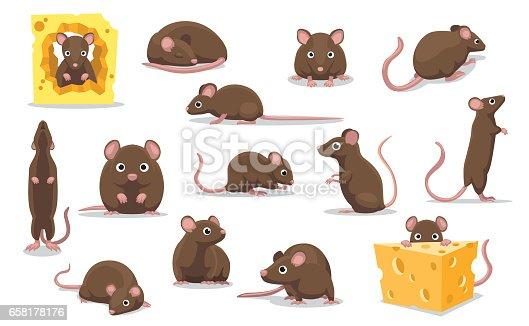 istock Cute Brown Rat Various Poses Cartoon Vector Illustration 658178176