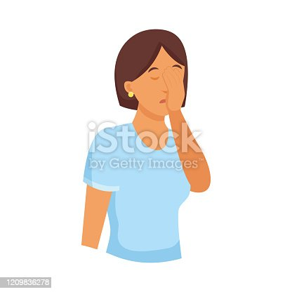 Cute brunette woman in blue shirt cover his face with hand palm. Flat style. Vector illustration on white background