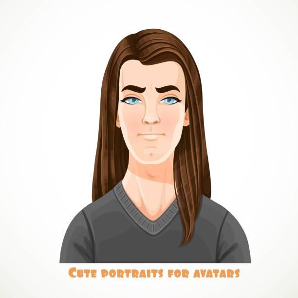 ilustraciones, imágenes clip art, dibujos animados e iconos de stock de lindo morena jóvenes con retrato de pelo largo para avatar aislado sobre un fondo blanco - ojos azules