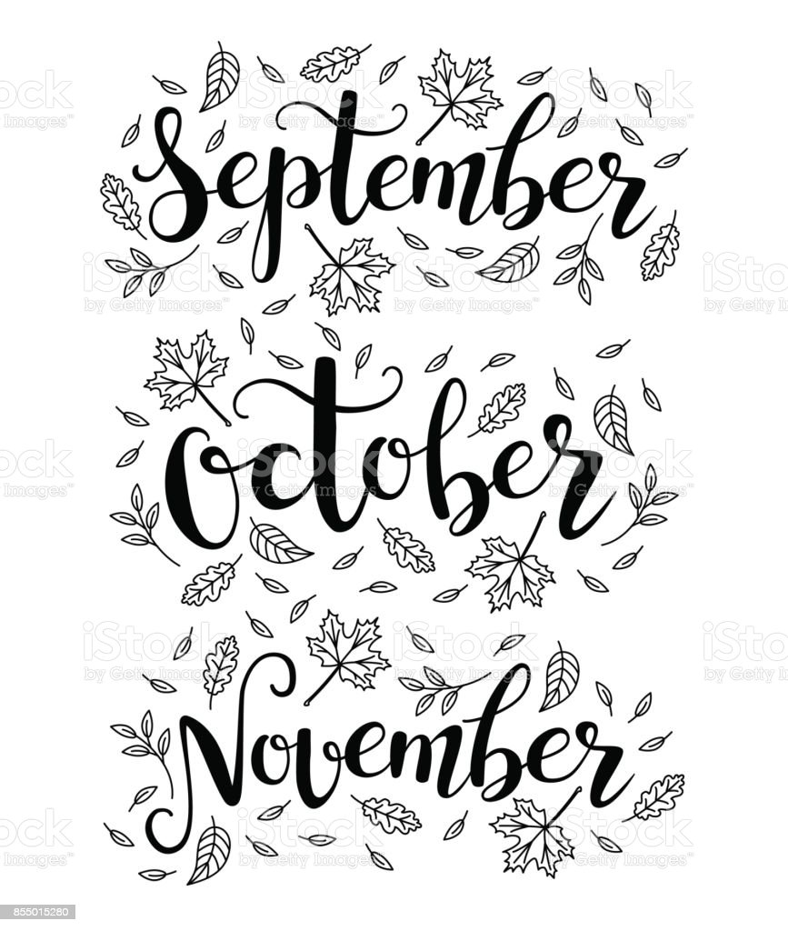 Cute brush calligraphy of autumn months of the year vector art illustration