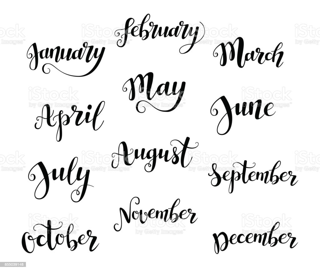 Cute brush calligraphy of months of the year vector art illustration