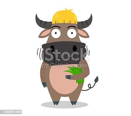 cute buffalo cartoon eating grass yummy on white background - vector illustration