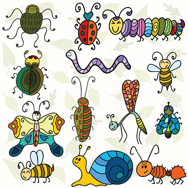stockillustraties, clipart, cartoons en iconen met cute bugs and funny insects - zijdeworm