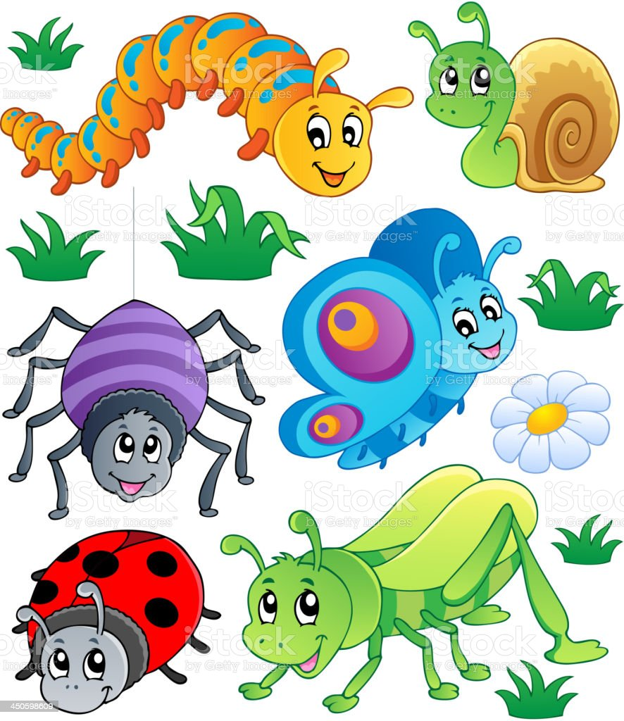 Cute bugs collection 1 vector art illustration