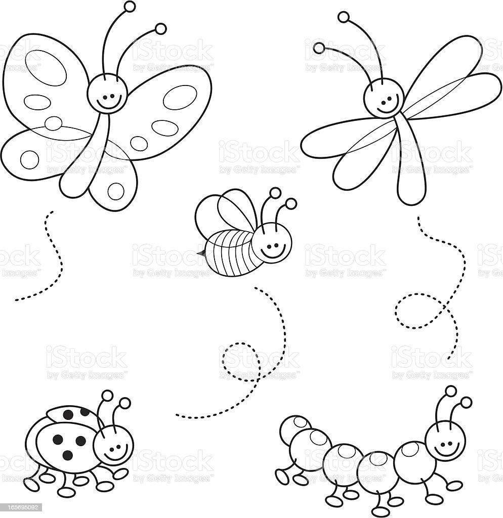 Cute bugs kawaii coloring set vector art illustration