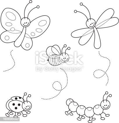 Cute Bugs Kawaii Coloring Set Stock Vector Art & More
