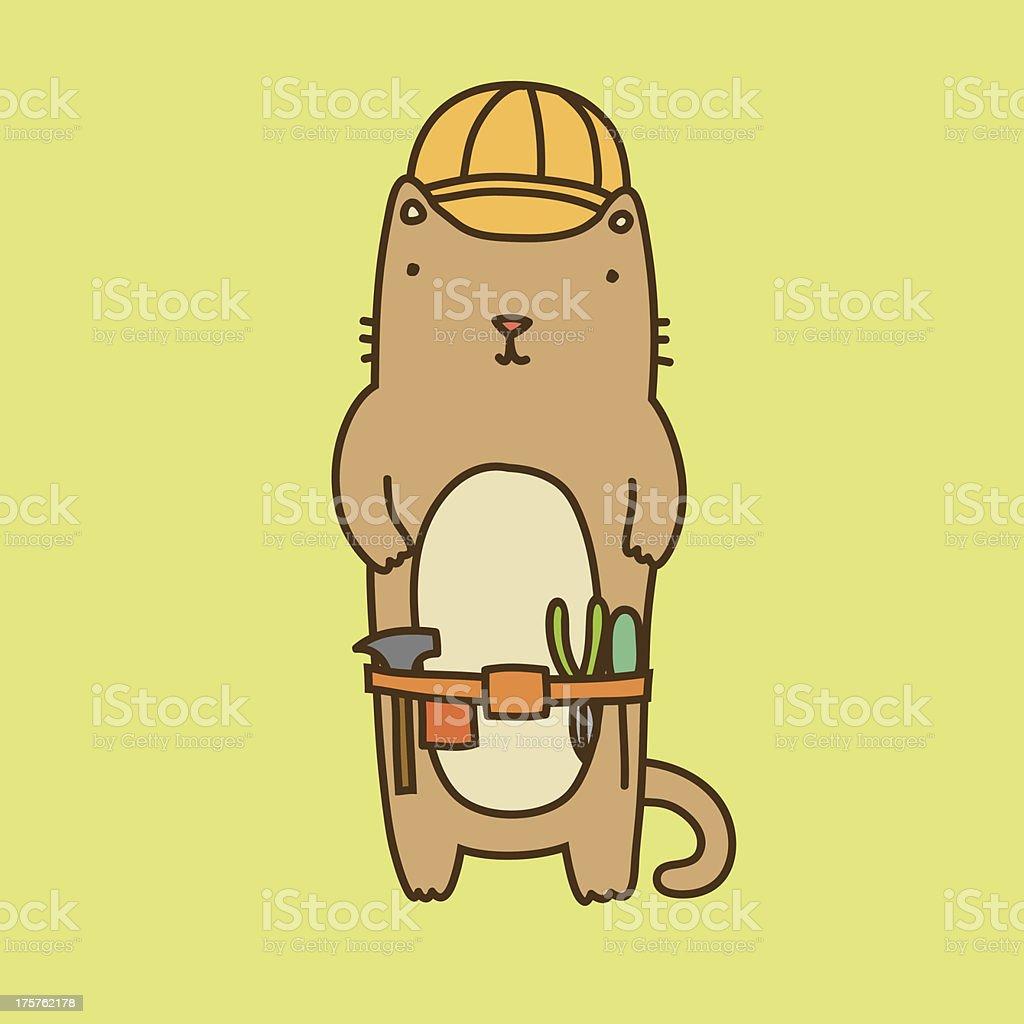 Cute builder cat royalty-free stock vector art