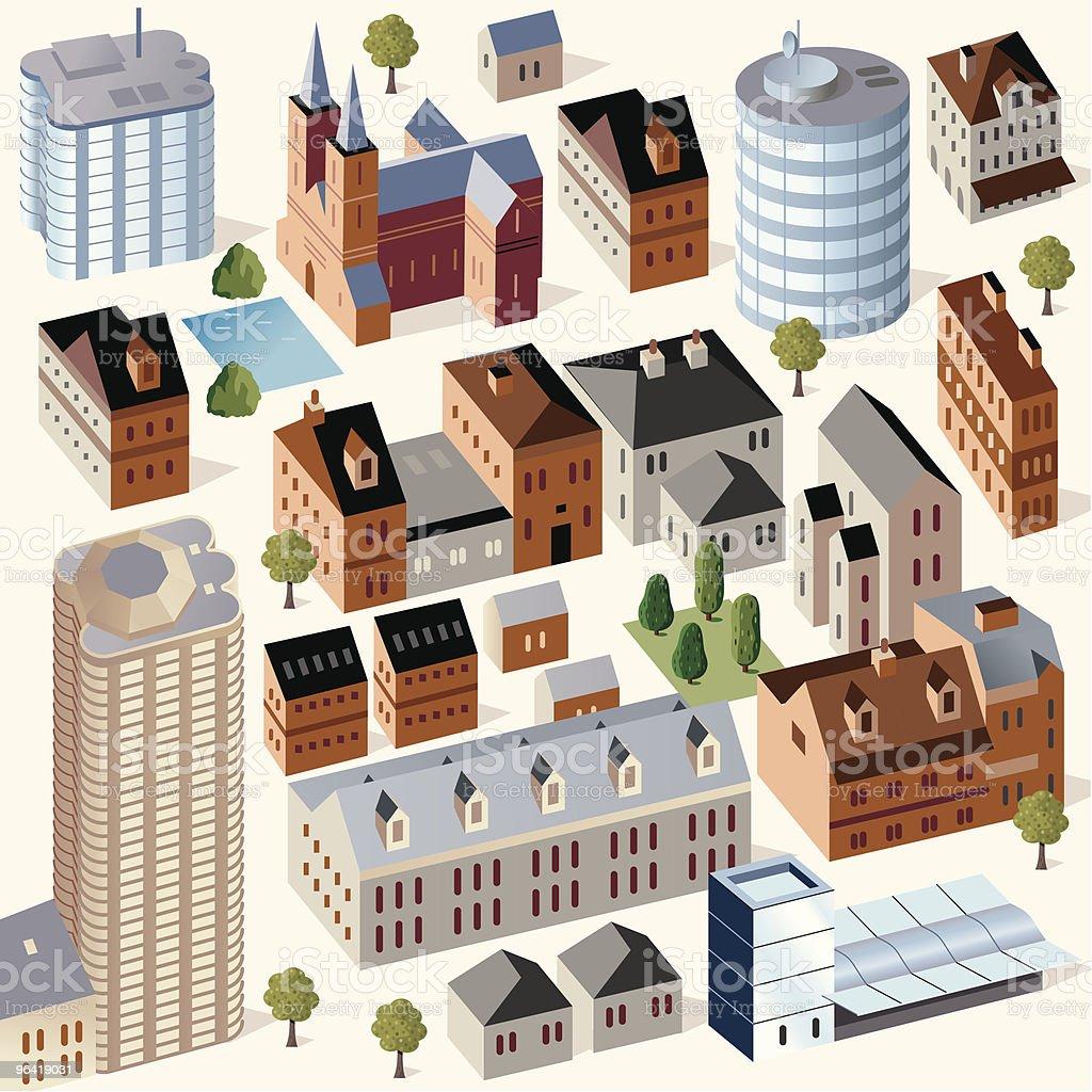 Cute Buildings #3 vector art illustration
