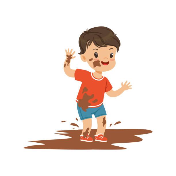 stockillustraties, clipart, cartoons en iconen met schattig bullebak jongen springen in een vuil, hoodlum vrolijke weinig gedrag van het kind, slechte kind vector illustratie - baby dirty