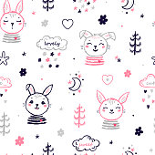 Cute Bunnies Vector Seamless Pattern. Easter Little Rabbit Faces. Doodle Bunny Heads with Trees, Rain Clouds. Cartoon Animal Background for Kids Fashion, Nursery, Baby Shower Scandinavian Design