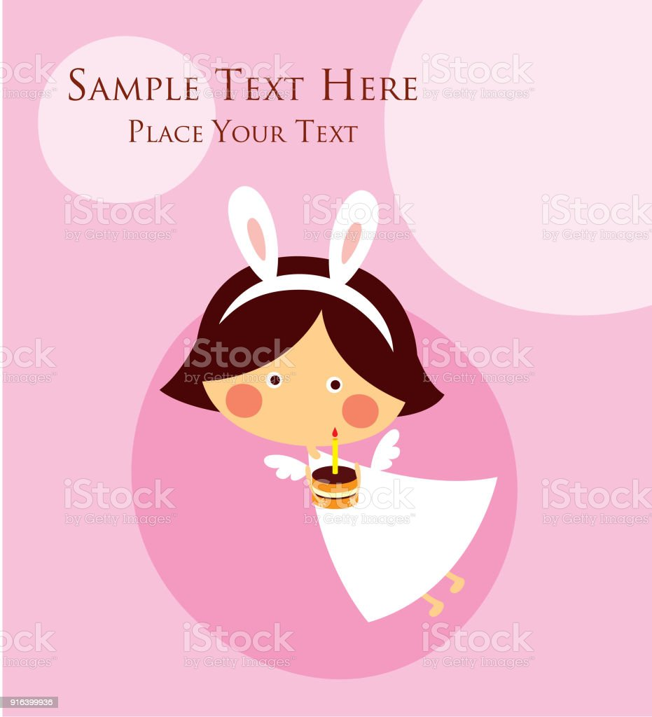 Cute Bunny Angel Girl Happy Easter And Happy Birthday Greeting Card