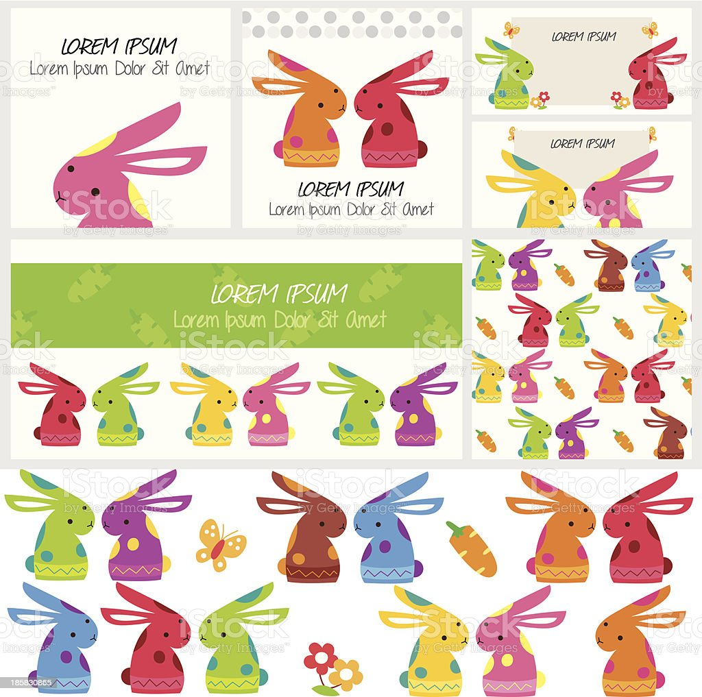 かわいい bunny クリップアートとレイアウトデザイン - お祝いのベクター