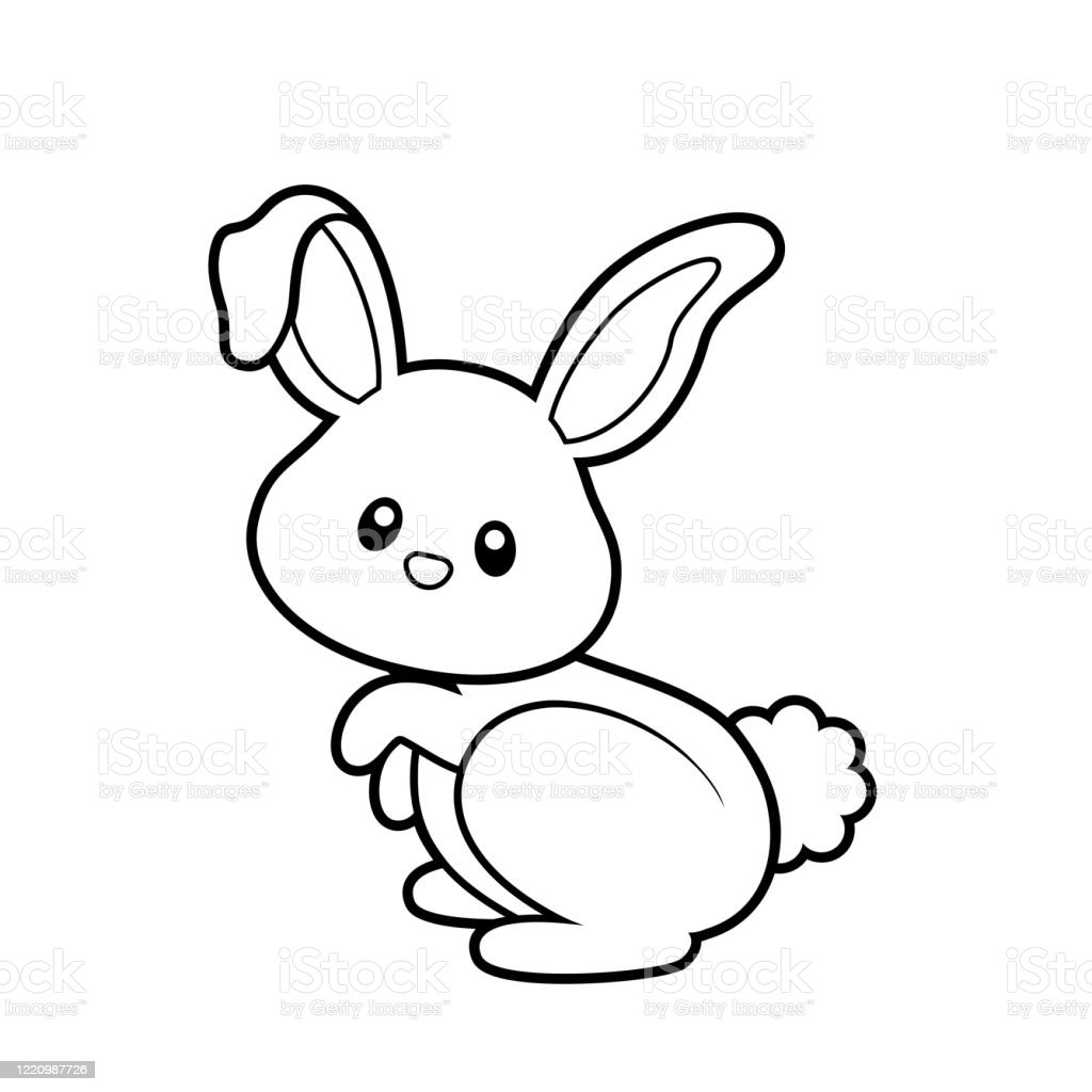 Cute Bunny Coloring Page Vector Illustration On White Stock Illustration Download Image Now Istock