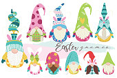 A vector illustration of Cute Bunny Easter Gnome Collections Set . Perfect for invitation, web design, scrapbooking, papers, card making, stationery, card and many more.