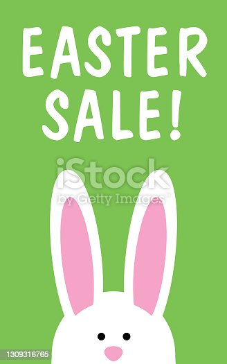 istock Cute Bunny Easter Sale icon Sign 1309316765
