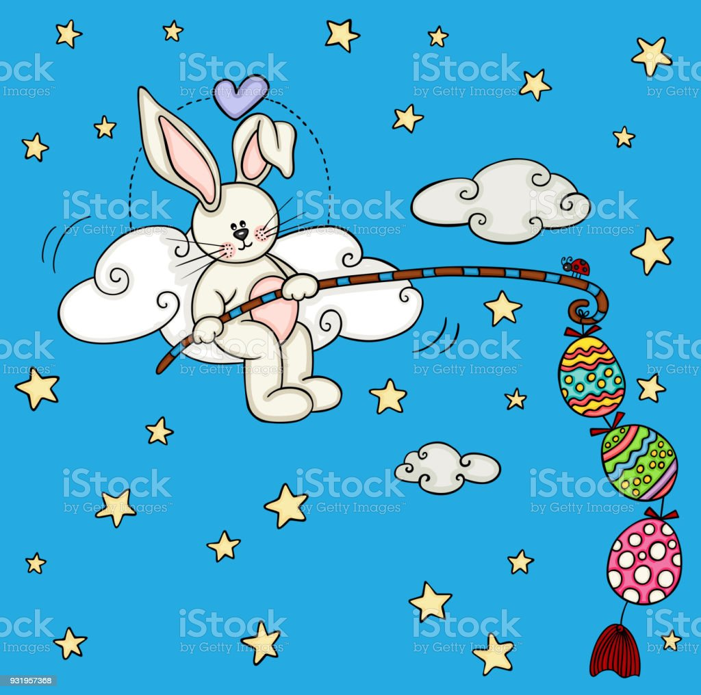 Cute bunny fishing a easter eggs vector art illustration