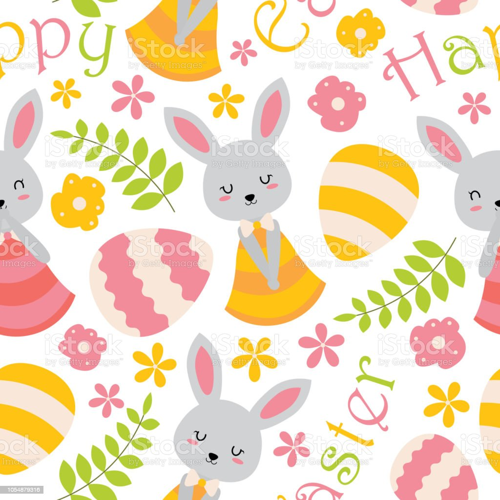 Cute Bunny Flowers And Eggs Vector Cartoon Suitable For Easter