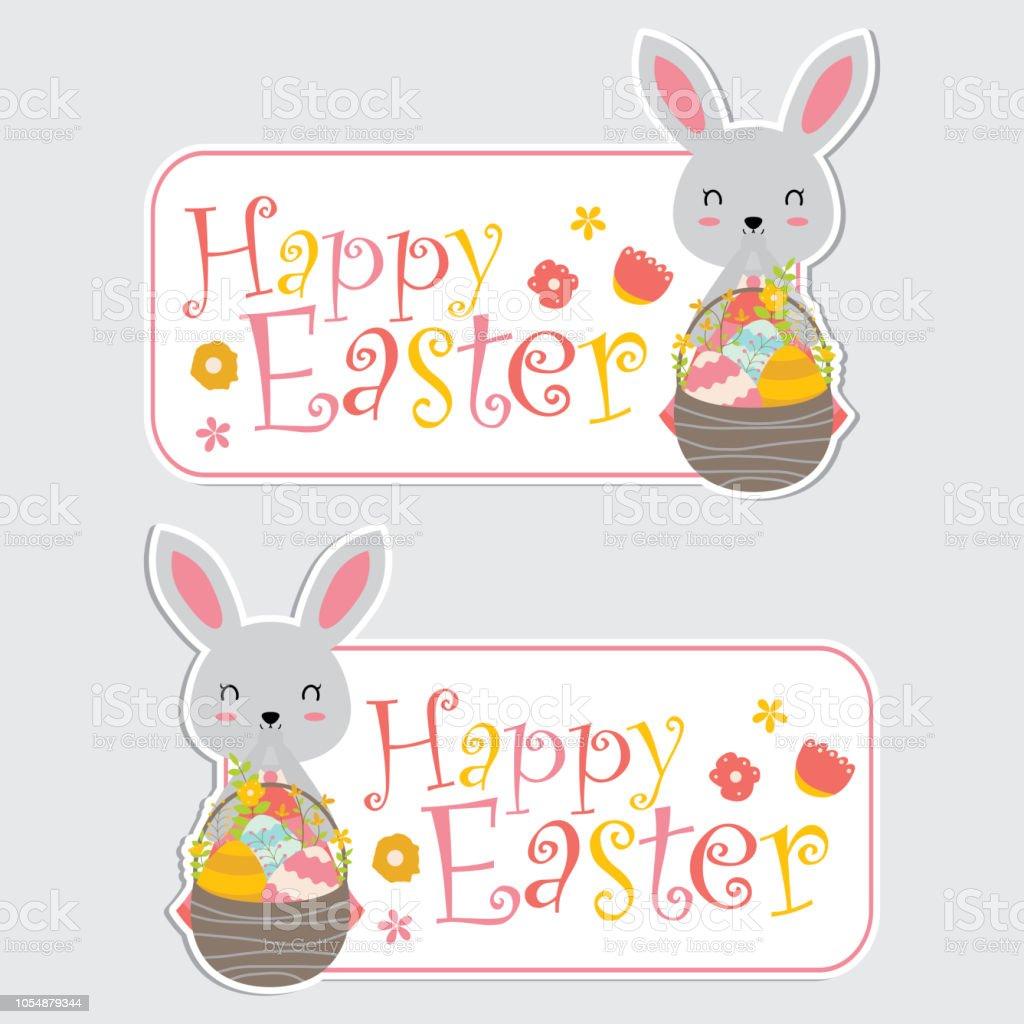 Süße Bunny Mädchen Und Bunte Eier Im Korb Für Frohe Ostern Label