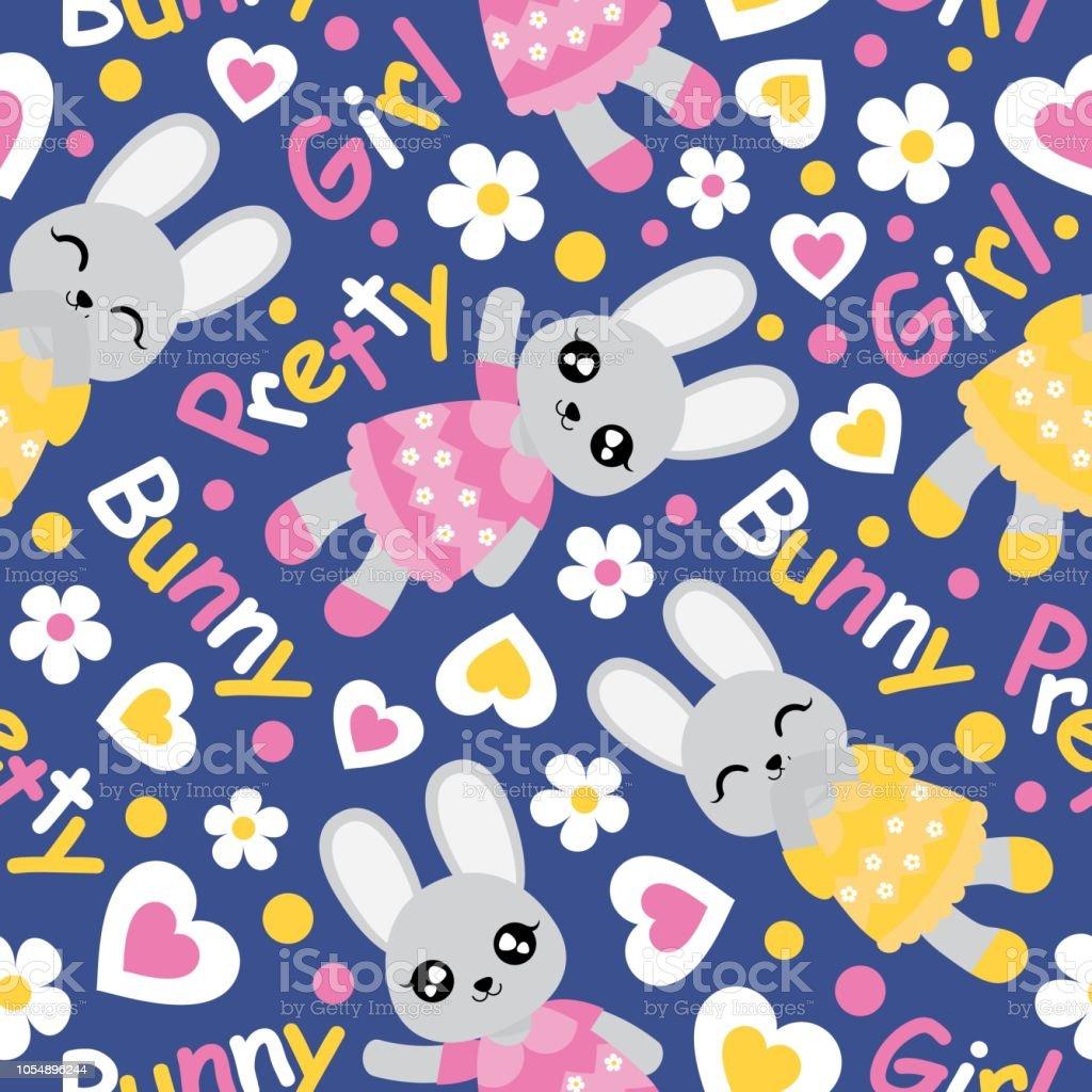 かわいいバニーガール花および青い背景ベクトル漫画子供の誕生日壁紙の
