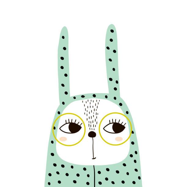 Linda chica bunny en mameluco y gafas. Imprimir infantil para camiseta, ropa, tarjetas, carteles, decoración del cuarto de niños. Ilustración de vector - ilustración de arte vectorial