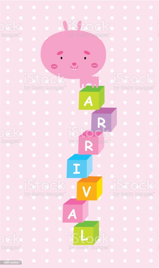 Cute Bunny Happy Birthday Greeting Card Vector Stock Vector Art
