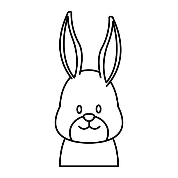 귀여운 토끼 머리 만화 - 강아지 실루엣 stock illustrations