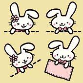 Vector illustration - Cute Bunny holding blank sign.