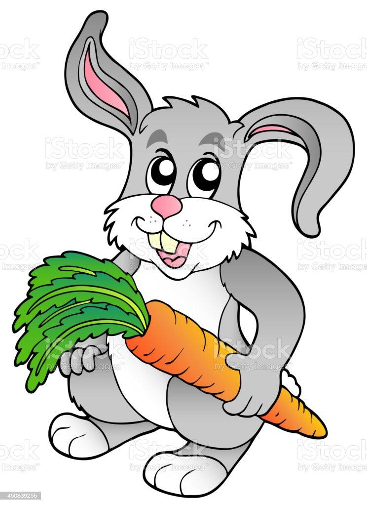 Cute bunny holding carrot royalty-free stock vector art