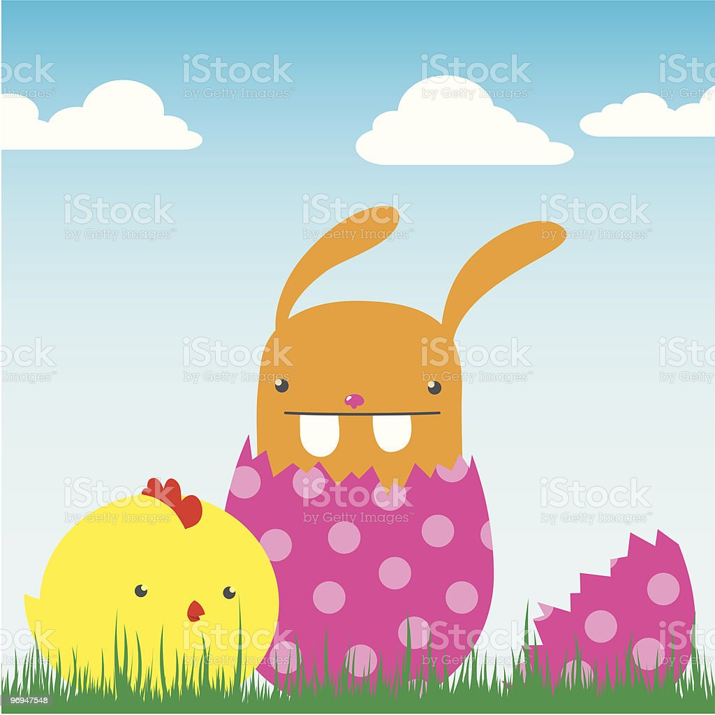 cute bunny in egg with chick - vector royalty-free cute bunny in egg with chick vector stock vector art & more images of animal