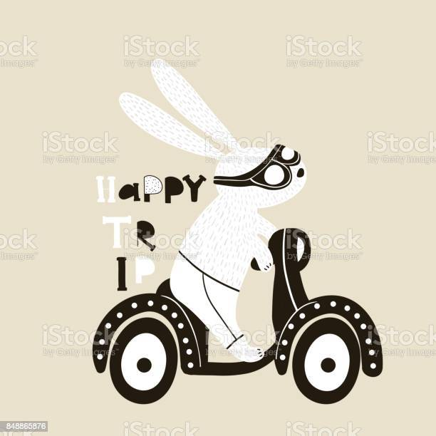 Cute bunny on scooter illustration childish print with rabbit for vector id848865876?b=1&k=6&m=848865876&s=612x612&h=tqbcaq0tvceawve6xssryncpeqwih1wwm0bv8wgzxgm=