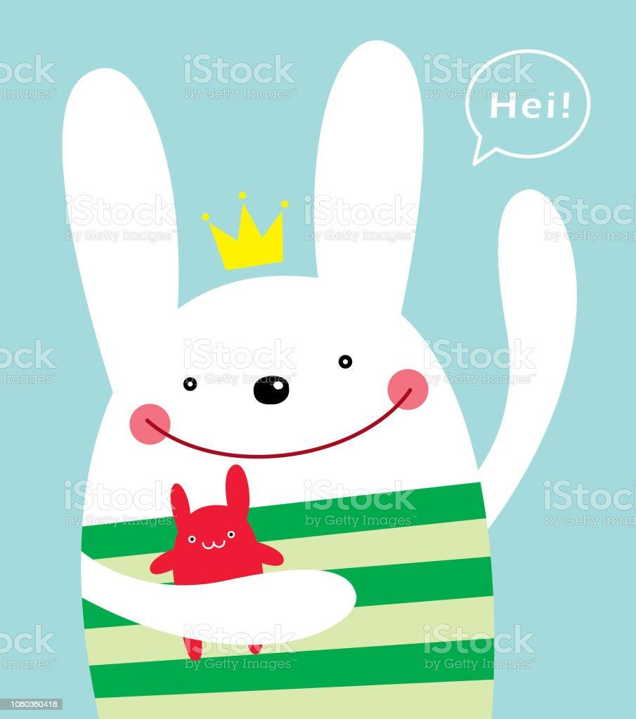 Cute Bunny Rabbit Greeting Poster Wallpaper Stock