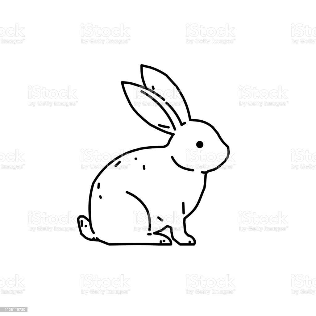 Cute Bunny Rabbit Line Art Vector Drawing Hand Drawn Minimalism Style Stock Illustration Download Image Now Istock